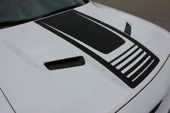 Close up Dodge Challenger Hood Graphic Design 3M STROBE HOOD 2008-2019