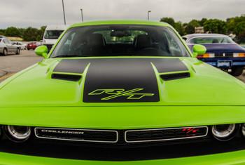 top of green 2018 Dodge Challenger RT Hood Stripes CHALLENGE HOOD 2015-2020