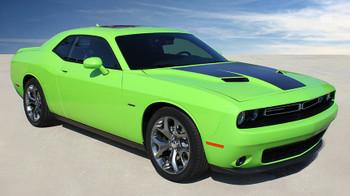 side of green 2018 Dodge Challenger RT Hood Stripes CHALLENGE HOOD 2015-2020