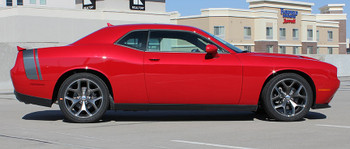 Rear View of Red 2018 Dodge Challenger Stripe Options TAIL BAND 2015-2020