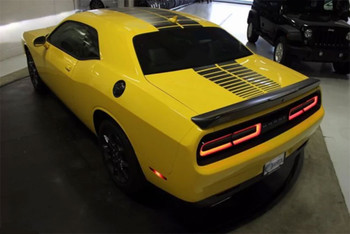 Rear of Yellow 2018 Challenger Blacktop Stripes PULSE RALLY 2015-2019 2020