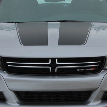 front of grey RECHARGE 15 HOOD | Dodge Charger Hood Graphics 2015-2020