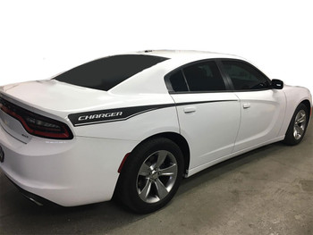 Side view of RECHARGE COMBO 15 : Dodge Charger Hood Decals and Side Stripe Decals