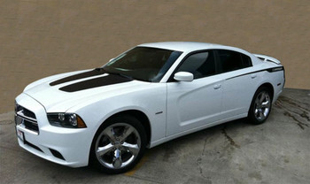 Front of white Dodge Charger Stripes RECHARGE 2011 2012 2013 2014