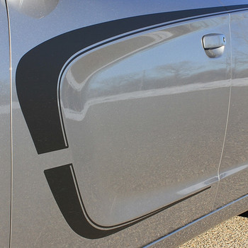 Side View of Gray Dodge Charger Side & Hood Stripes C-STRIPES 15 2015-2020