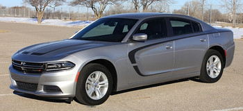 Side of grey SCALLOP COMBO 15 : Dodge Charger C Hood Decals and Side Door Stripe Decals fits 2015-2020 2021
