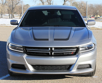 Front of grey SCALLOP COMBO 15 : Dodge Charger C Hood Decals and Side Door Stripe Decals fits 2015-2020 2021