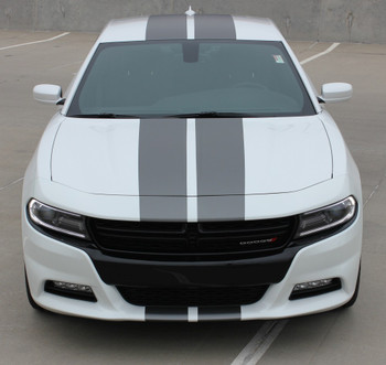 Front hood view of white 2018 Dodge Charger Rally Stripes N CHARGE 15 2015-2021