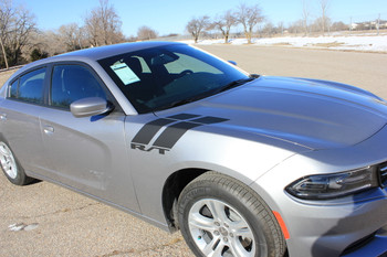 Side of Gray 2016 Dodge Charger Fender Stripes 15 DOUBLE BAR 2011-2020