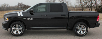 Side of black 2016 Dodge Ram 1500 Fender Decals DOUBLE BAR 2009-2015 2016 2017 2018