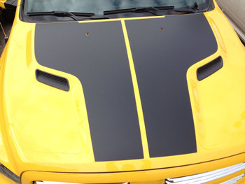 Front of Yellow Dodge Ram - 2015 Dodge Ram Hood Decals HEMI HOOD 2009-2015 2016 2017 2018
