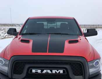 Front of red 2018 Dodge Ram Hemi Hood Decals HEMI HOOD 2009-2016 2017 2018 (2019-2021 Classic)