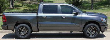 Side View of 2019 Ram 1500 Stripes RAM EDGE Side Decals Kit 2019 2020