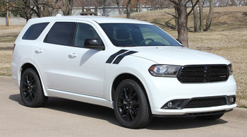 Side view of White  2020 Dodge Durango Hood Decals  DOUBLE BAR 2011-2019 2020