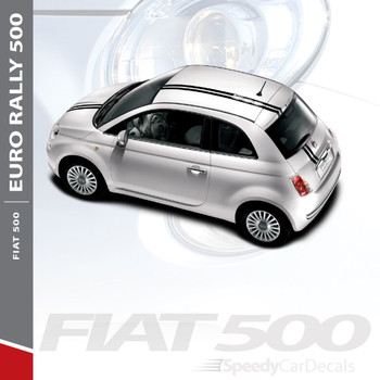 EURO RALLY : 2011-2019 Fiat 500 Offset Racing Stripe Abarth Vinyl Graphics Striping Decals Kit