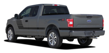 Side of 2019 Ford F150 Vinyl Graphics LEAD FOOT 2015-2020