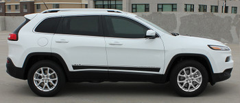 Side View of white 2019 Jeep Cherokee Stripes BRAVE 2014-2019 2020