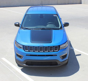 Front view of blue 2018 Jeep Compass Hood Graphics BEARING HOOD 2017-2020