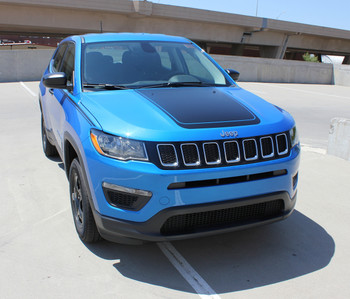 Front Side view of blue 2018 Jeep Compass Hood Graphics BEARING HOOD 2017-2020