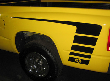 Profile of Yellow Dodge Power Wagon Stripes Ram 1500 Truck POWER 2009-2018 (2019-2021 Ram Classic) Premium Vinyl