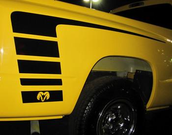 Profile of Yellow Dodge Power Wagon Stripes Ram 1500 Truck POWER 2009-2018 (2019-2021 Ram Classic) Premium Vinyl