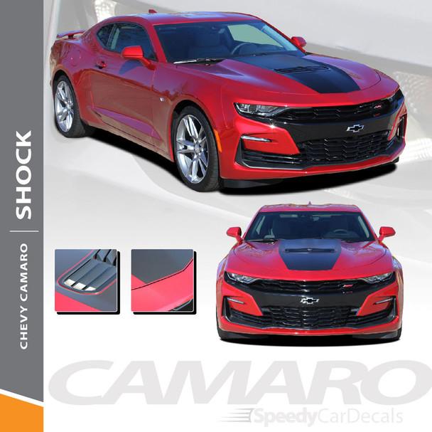 SHOCK 2019 2020 Chevy Camaro Center Hood Stripe Decals Vinyl Graphics Kit Wet and Dry Instal