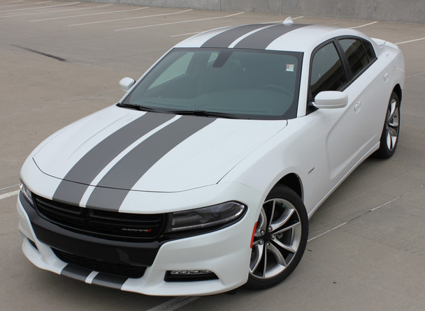 Front angle of N-CHARGE RALLY 15   Dodge Charger Racing Stripes Hood Decal Roof Bumpers Vinyl Graphic fits 2015-2020