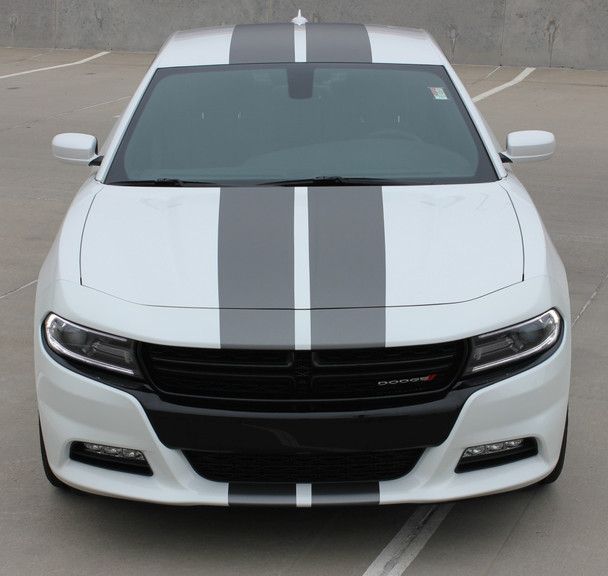 Front of N-CHARGE RALLY 15 | Dodge Charger Racing Stripes Hood Decal Roof Bumpers Vinyl Graphic fits 2015-2020