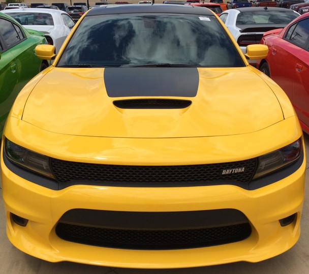 Front of 15 CHARGER HOOD | Dodge Charger Hood Decal Daytona Hemi SRT 392 Center Hood Stripe Vinyl Graphics 2015-2020