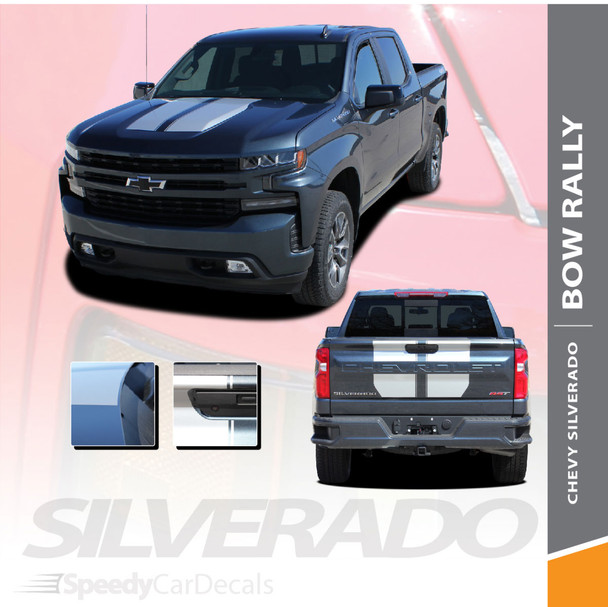 2019 2020 2021 Chevy Silverado Hood Racing Stripes Decals BOW RALLY Premium and Supreme Install