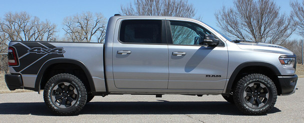 Side view of Dodge Ram with wheel moldings 2020 Ram 1500 Rebel REB SIDE Graphic Stripes 2019-2021