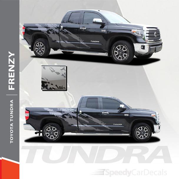 FRENZY | Toyota Tundra Side Body Vinyl Graphics Splash Design Decal Stripes Kit 2015-2021 Premium and Supreme Install