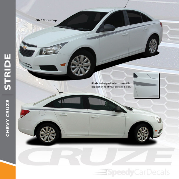 STRIDE : 2008-2016 Chevy Cruze Upper Body Door Accent Striping Vinyl Graphics Decals Kit