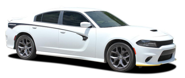 Side angle view of 2015-2021 Dodge Charger Body Line Stripes RILED SIDE KIT