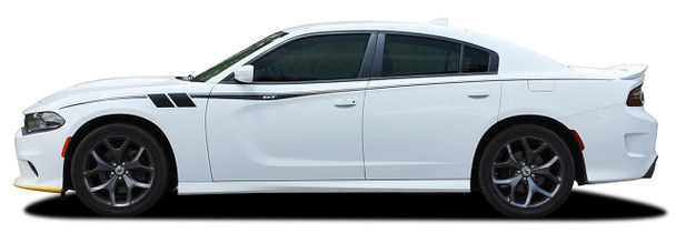 Side View of White 2015-2021 Dodge Charger Side Body Graphics FIERCE Premium Products!