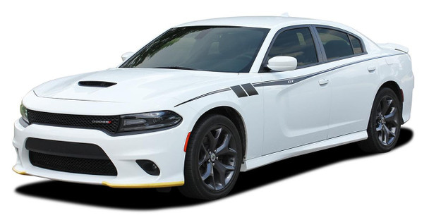 Profile View of White 2020 Dodge Charger Side Body Graphics FIERCE 2015-2021