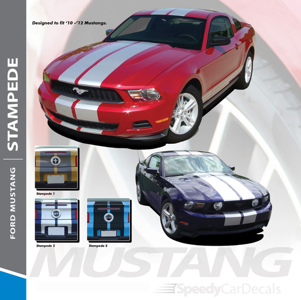 """STAMPEDE : 2010-2012 Ford Mustang OEM Style 10"""" Inch Wide Lemans Racing Stripes Rally Vinyl Graphics Kit"""
