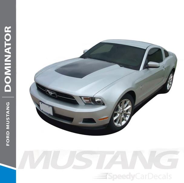 DOMINATOR HOOD : 2010-2012 Ford Mustang Center Hood Blackout Vinyl Graphics Decal Kit