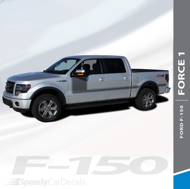 """FORCE ONE DIGITAL : 2009-2014 and 2015-2018 Ford F-150 Hockey Stripe """"Appearance Package Style"""" Vinyl Graphics Decals Kit"""