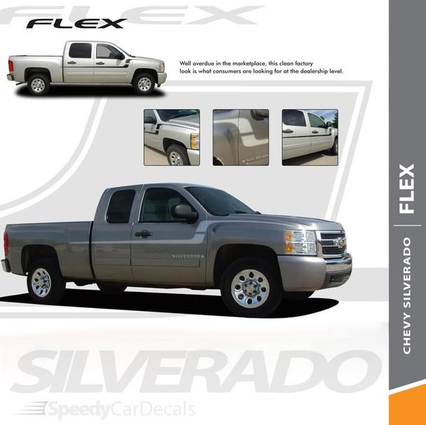 FLEX : 2007-2018 Chevy Silverado Side Door to Fender Vinyl Graphics Decal Stripe Kit