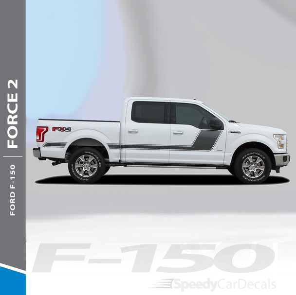 "FORCE TWO SOLID : 2009-2014 and 2015-2018 Ford F-150 Hockey Stripe ""Appearance Package Style"" Vinyl Graphics Decals Kit"
