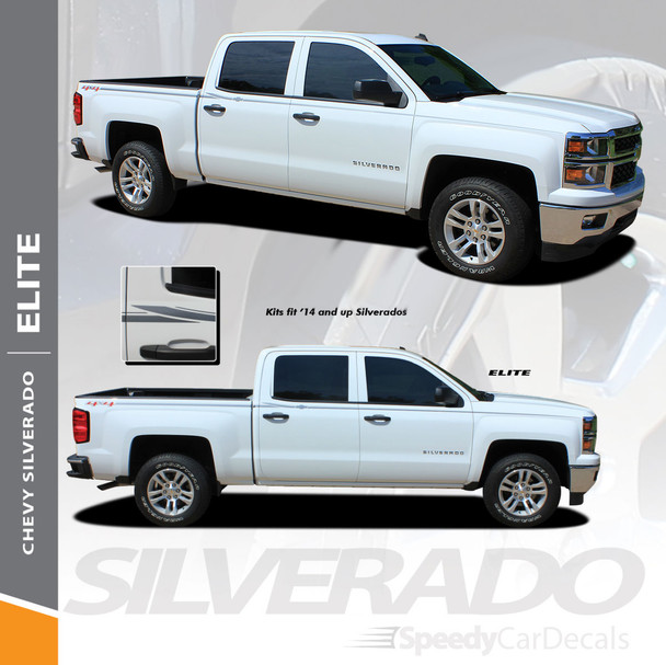 ELITE : 2014-2018 Chevy Silverado Upper Body Pin Striping Vinyl Graphic Decal Stripe Kit