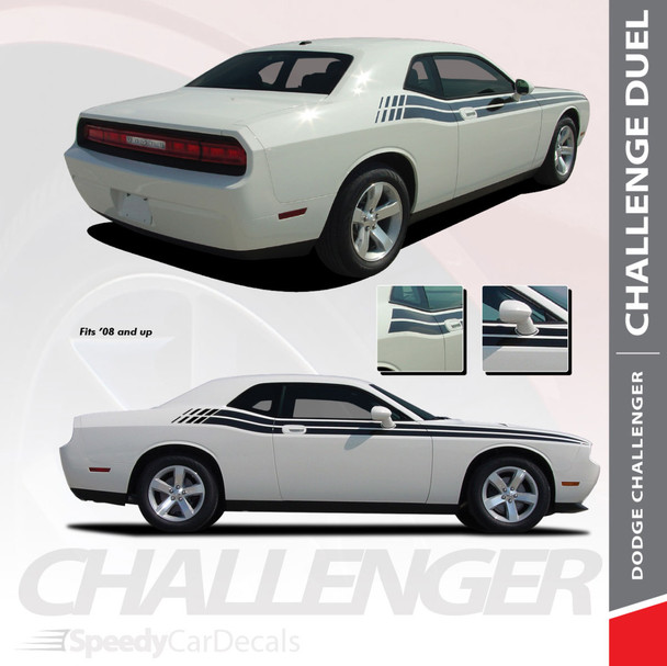 DUEL : 2008-2018 2019 2020 2021 Dodge Challenger Upper Door Split Strobe Vinyl Graphic Decal Stripe Kit