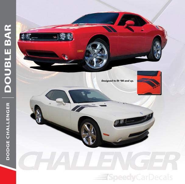 CHALLENGER DOUBLE BAR : 2008-2018 2019 2020 2021 Dodge Challenger Hood to Fender Stripes Hash Decal Vinyl Graphics Kit