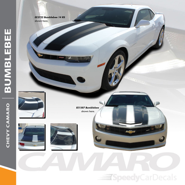 BUMBLEBEE : 2010-2013 Chevy Camaro Racing Stripes Hood Vinyl Graphics SS RS Trunk Spoiler Decals Kit