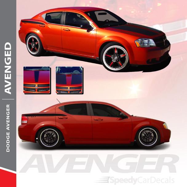 AVENGED : 2008-2014 Dodge Avenger Hood Quarter and Trunk Vinyl Graphics Decals Stripe Kit
