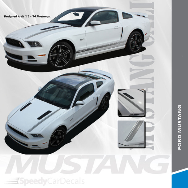 """CALI GT/CS : 2013-2014 Ford Mustang """"California Special Style"""" Hood and Rocker Panel Stripes Vinyl Graphic Decals Kit"""