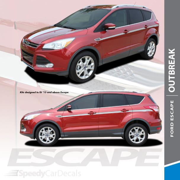 OUTBREAK : 2013-2019 Ford Escape Body Line Vinyl Graphics Decal Stripe Kit