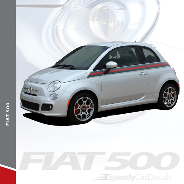 SE 5 ITALIAN APPLIQUE STRIPE : 2011-2019 Fiat 500 Gucci Style Abarth Door to Rear Wrap Around Vinyl Graphics Stripes Decals Kit