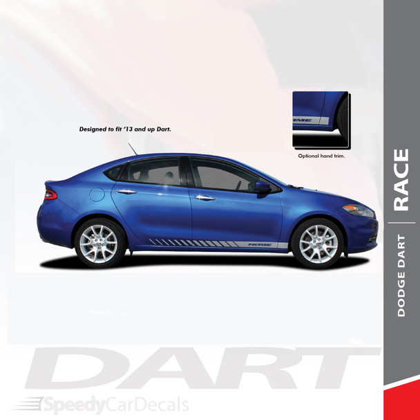 DASH : 2013-2016 Dodge Dart Lower Rocker Vinyl Stripes Decals Graphics Kit